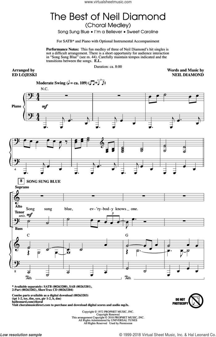 The Best of Neil Diamond (arr. Ed Lojeski) sheet music for choir (SATB: soprano, alto, tenor, bass) by Neil Diamond and Ed Lojeski, intermediate skill level