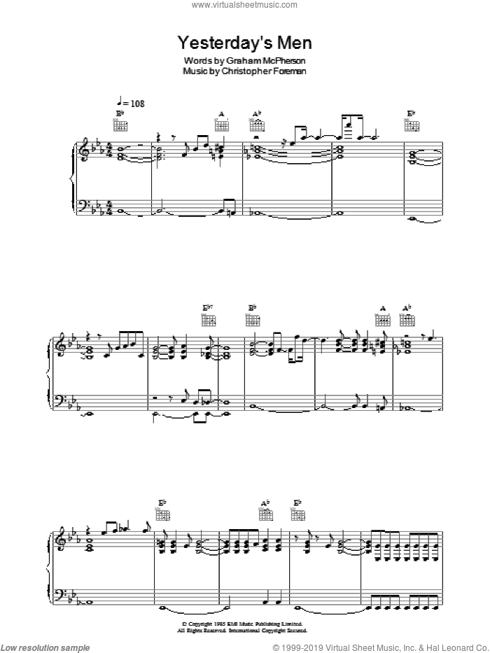 Yesterday's Men sheet music for voice, piano or guitar by Madness, Christopher Foreman and Graham McPherson, intermediate skill level