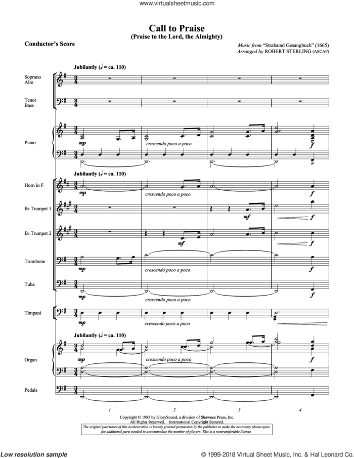 Call To Praise (Praise To The Lord, The Almighty) (COMPLETE) sheet music for orchestra/band by Robert Sterling, Catherine Winkworth (trans.), Joachim Neander and Praxis Pietatis Melica, intermediate skill level