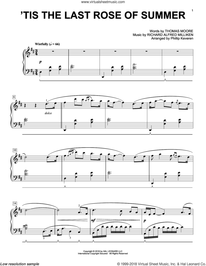 'Tis The Last Rose Of Summer [Classical version] (arr. Phillip Keveren) sheet music for piano solo by Richard Alfred Milliken, Phillip Keveren, Miscellaneous and Thomas Moore, intermediate skill level