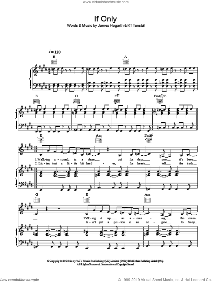 If Only sheet music for voice, piano or guitar by KT Tunstall and James Hogarth, intermediate skill level