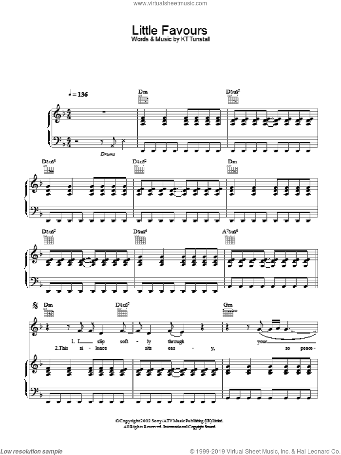 Little Favours sheet music for voice, piano or guitar by KT Tunstall, intermediate skill level