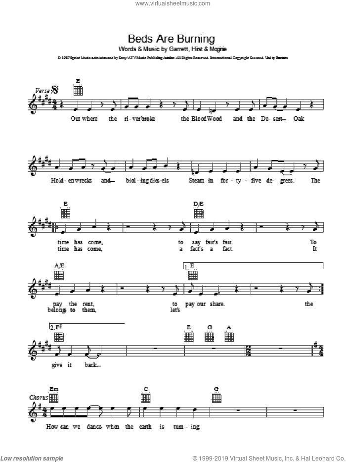 Beds Are Burning sheet music for voice and other instruments (fake book) by Midnight Oil, Jim Moginie, Peter Garrett and Robert Hirst, intermediate skill level