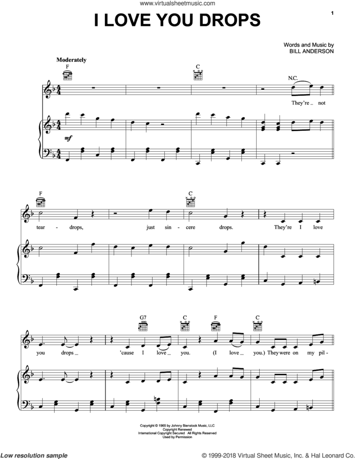 I Love You Drops sheet music for voice, piano or guitar by Bill Anderson, intermediate skill level