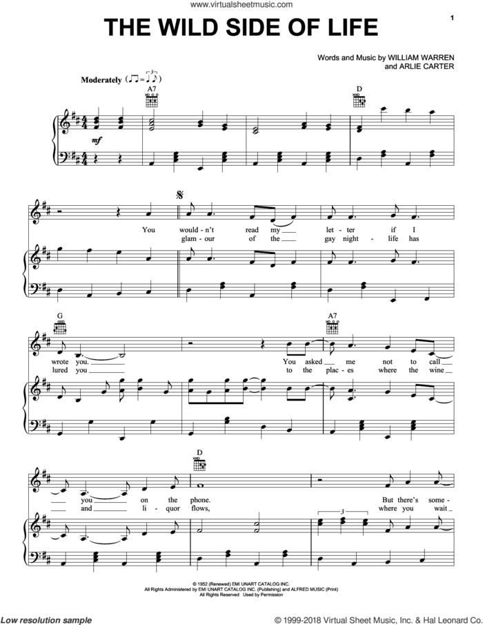 The Wild Side Of Life sheet music for voice, piano or guitar by Arlie Carter and William Warren, intermediate skill level