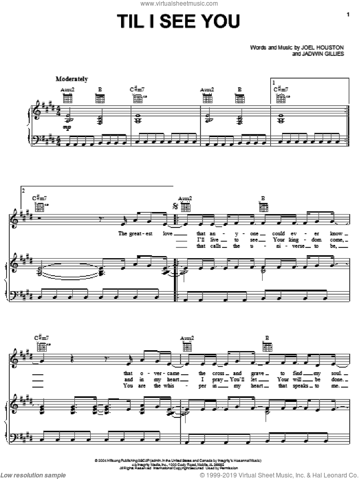 Til I See You sheet music for voice, piano or guitar by Hillsong United, Hillsong London, Jadwin Gillies and Joel Houston, intermediate skill level
