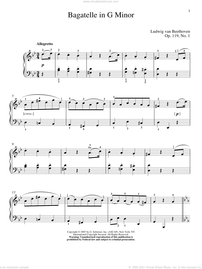 Bagatelle In G Minor, Op. 119, No. 1 sheet music for piano solo by Ludwig van Beethoven and Matthew Edwards, classical score, intermediate skill level