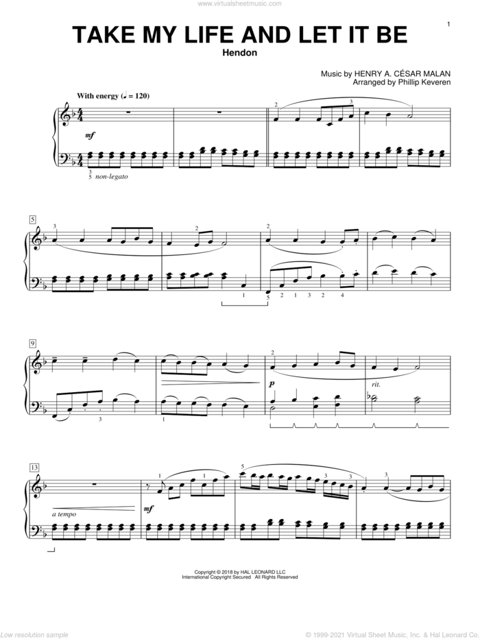 Take My Life And Let It Be [Classical version] (arr. Phillip Keveren) sheet music for piano solo by Frances R. Havergal, Phillip Keveren and Henry A. Cesar Malan, classical score, intermediate skill level