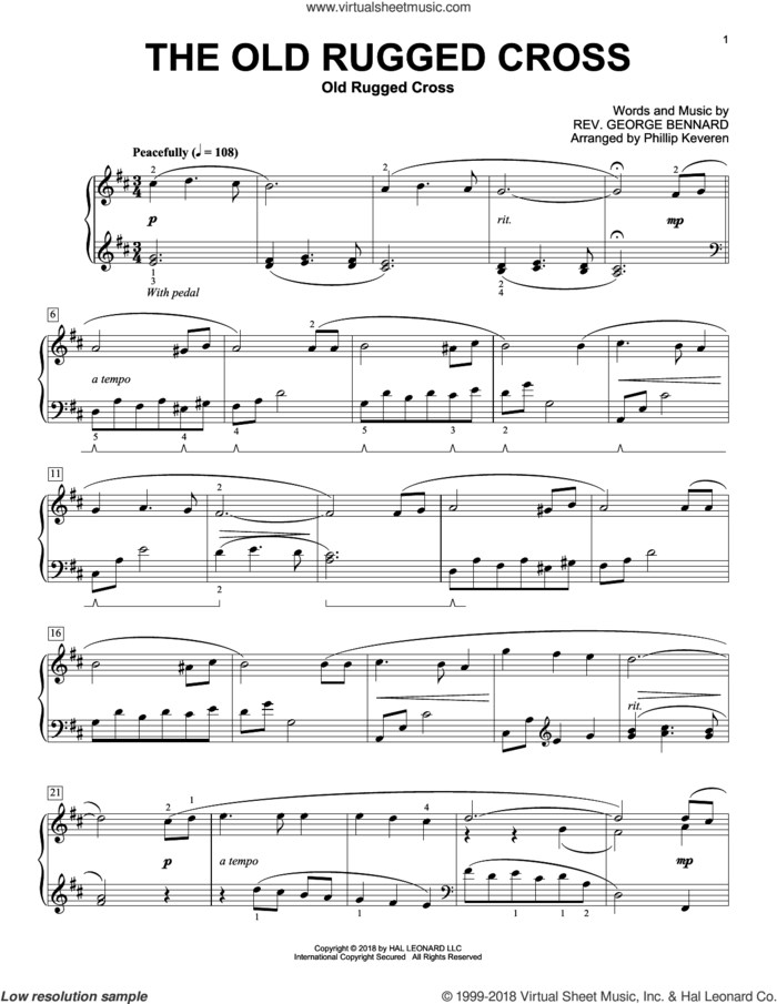 The Old Rugged Cross [Classical version] (arr. Phillip Keveren) sheet music for piano solo by Rev. George Bennard and Phillip Keveren, classical score, intermediate skill level