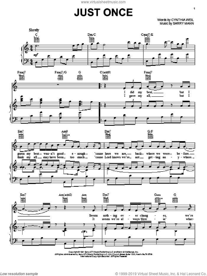 Just Once sheet music for voice, piano or guitar by Quincy Jones featuring James Ingram, James Ingram, Quincy Jones, Barry Mann and Cynthia Weil, intermediate skill level