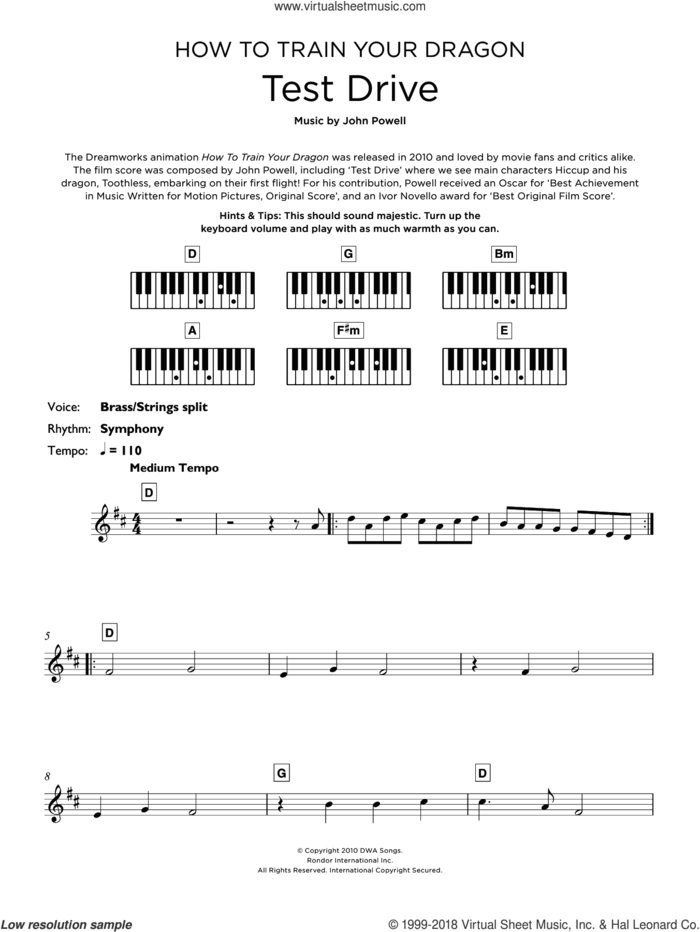 Test Drive (from How to Train Your Dragon) sheet music for piano solo (keyboard) by John Powell, intermediate piano (keyboard)