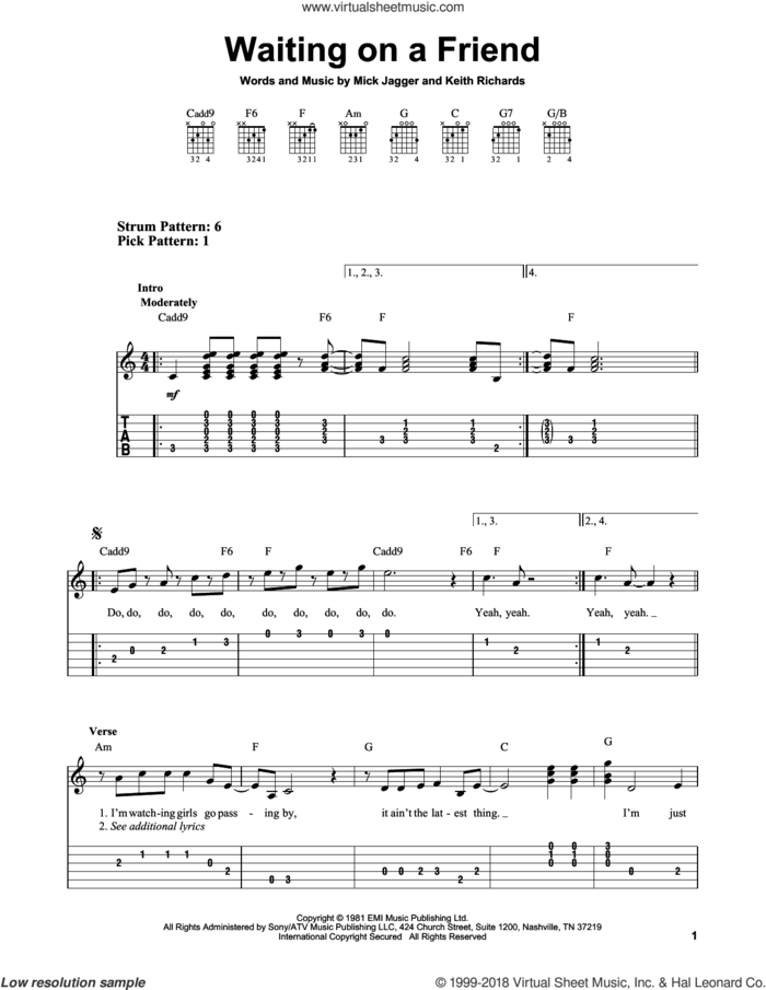 Waiting On A Friend sheet music for guitar solo (easy tablature) by The Rolling Stones, Keith Richards and Mick Jagger, easy guitar (easy tablature)