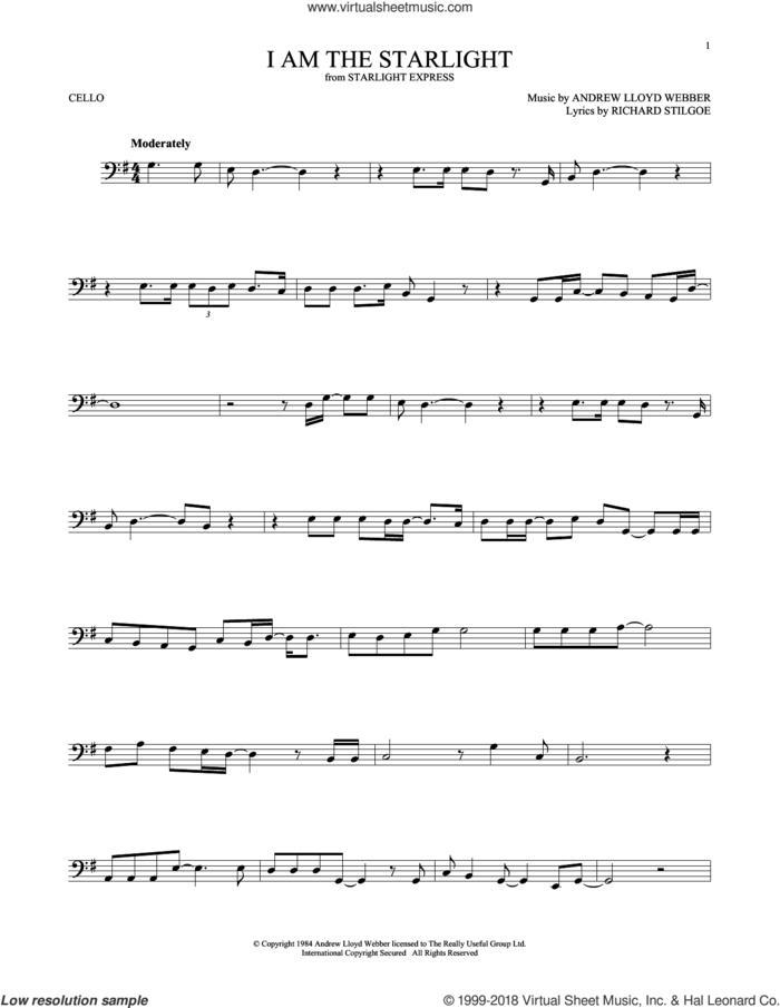 I Am The Starlight sheet music for cello solo by Andrew Lloyd Webber and Richard Stilgoe, intermediate skill level