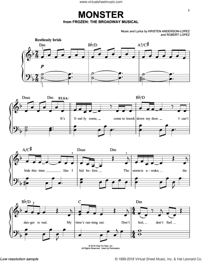 Monster sheet music for piano solo by Robert Lopez, Kristen Anderson-Lopez and Kristen Anderson-Lopez & Robert Lopez, easy skill level