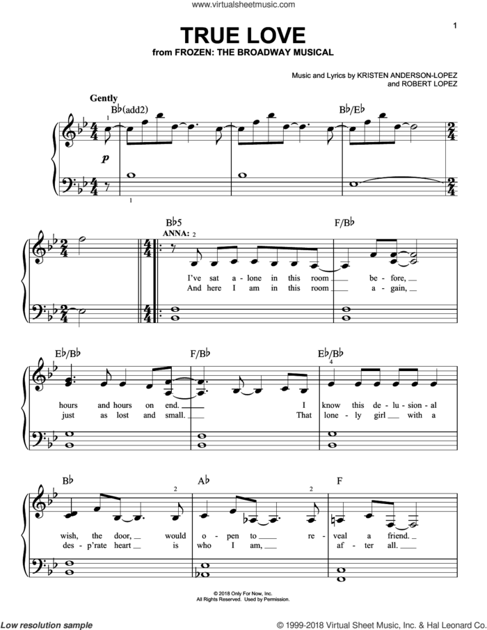 True Love sheet music for piano solo by Robert Lopez, Kristen Anderson-Lopez and Kristen Anderson-Lopez & Robert Lopez, easy skill level