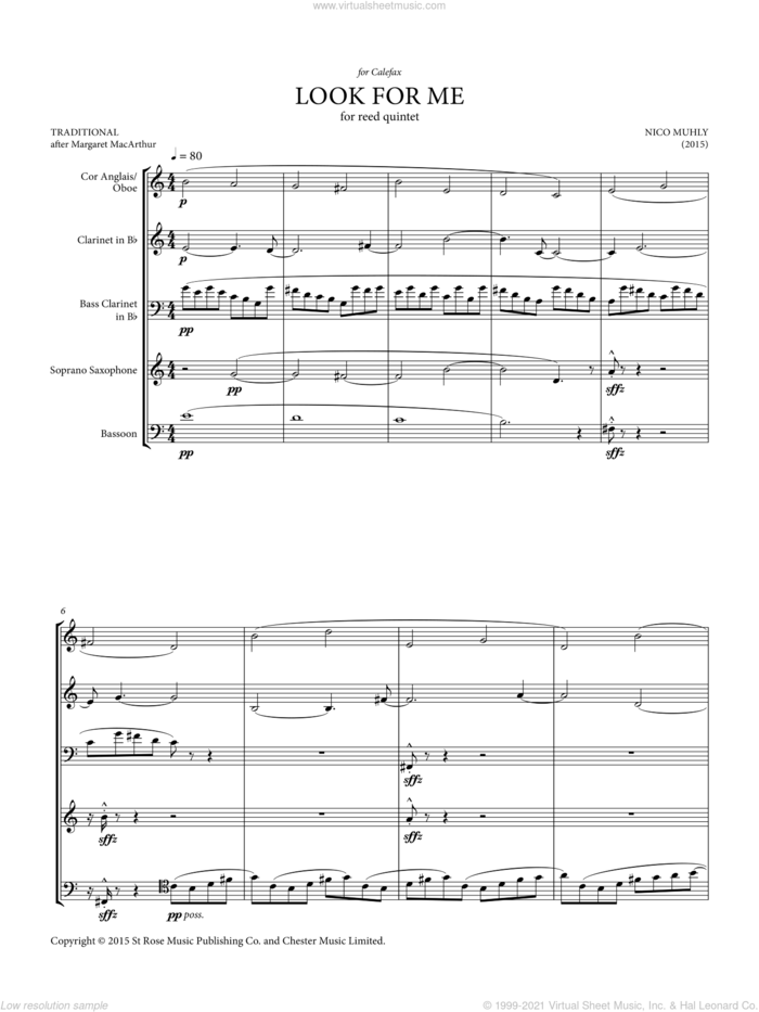 Look For Me (for reed quintet) sheet music for wind quintet (reed quintet) by Nico Muhly, classical score, intermediate skill level