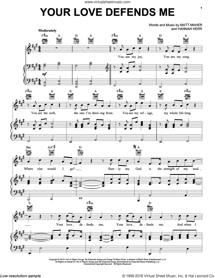 Your Love Defends Me sheet music for voice, piano or guitar by Matt Maher and Hannah Kerr, intermediate skill level