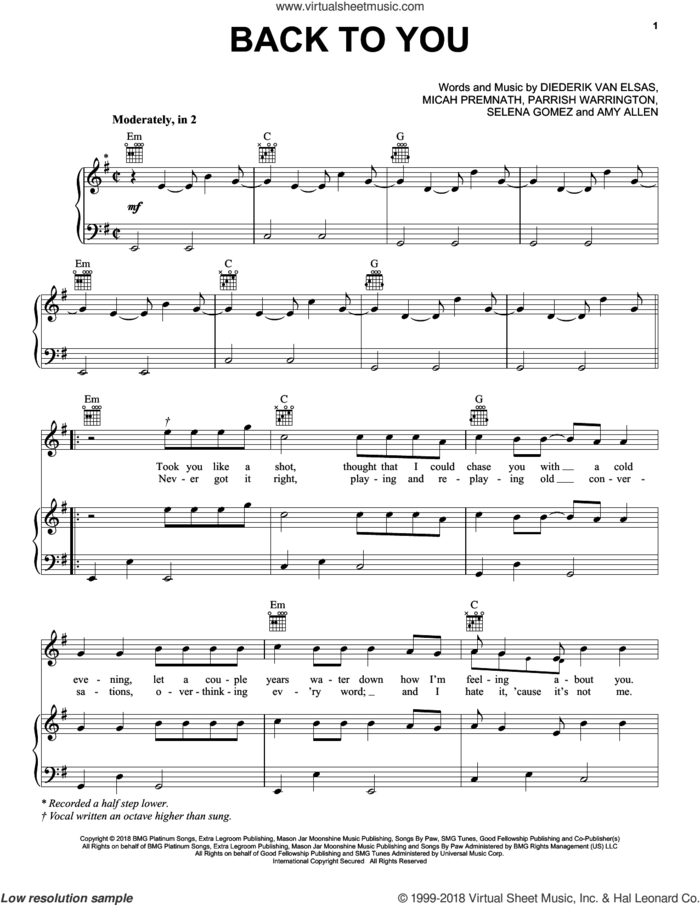 Back To You sheet music for voice, piano or guitar by Selena Gomez, Amy Allen, Diederik Van Elsas, Micah Premnath, Parrish Warrington and Selena Marie Gomez, intermediate skill level