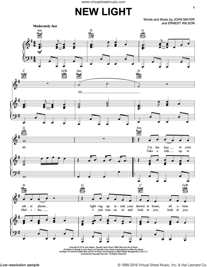 New Light sheet music for voice, piano or guitar by John Mayer and Ernest Wilson, intermediate skill level