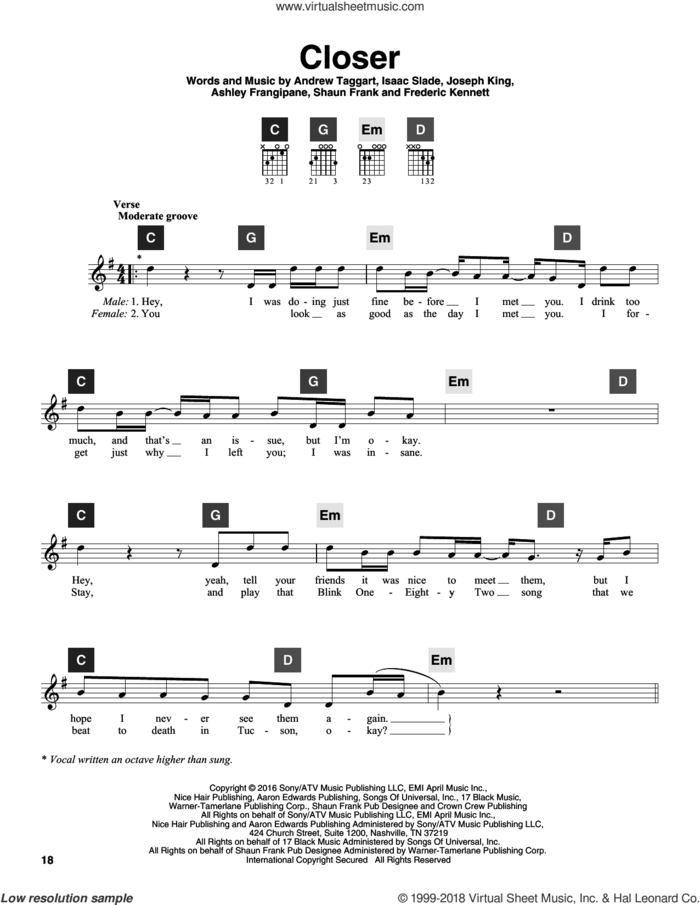 Closer sheet music for guitar solo (ChordBuddy system) by The Chainsmokers featuring Halsey, Andrew Taggart, Ashley Frangipane, Frederic Kennett, Isaac Slade, Joseph King and Shaun Frank, intermediate guitar (ChordBuddy system)