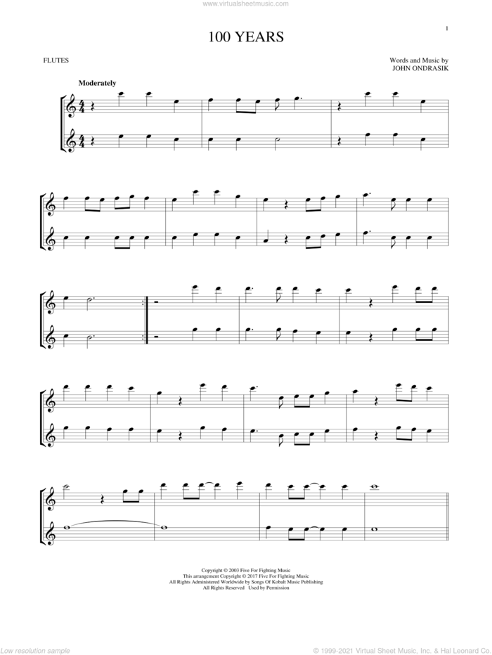 100 Years sheet music for two flutes (duets) by Five For Fighting and John Ondrasik, intermediate skill level