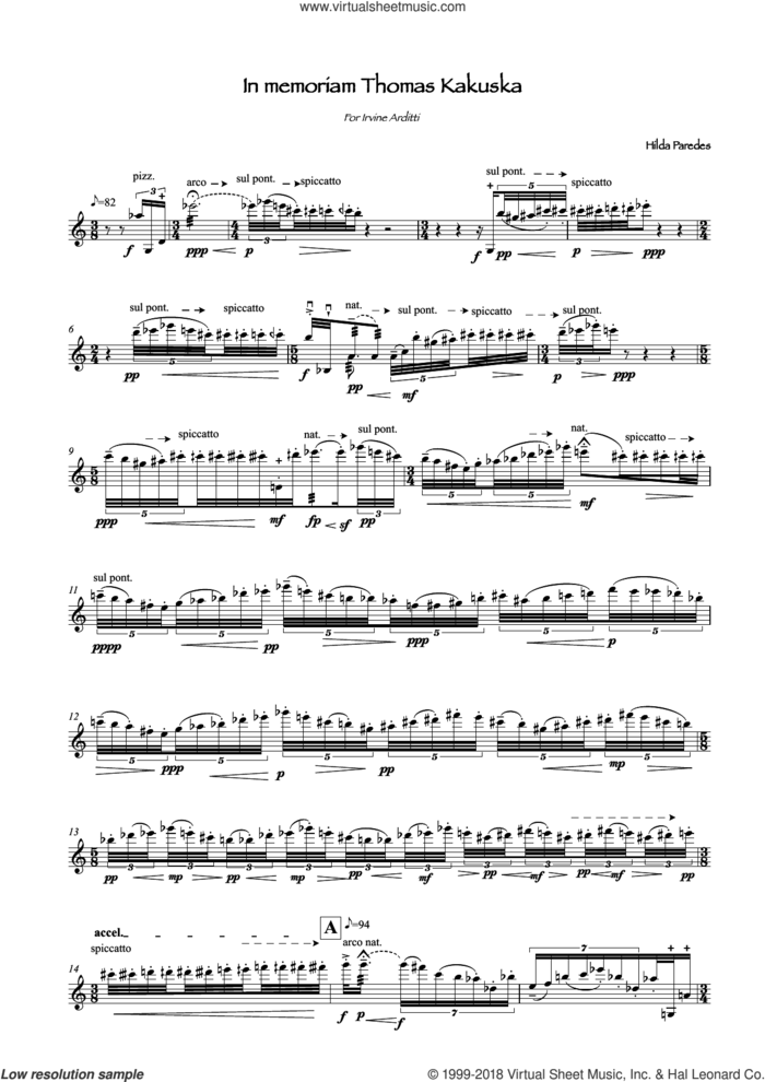 In Memoriam Thomas Kakuska sheet music for violin solo by Hilda Paredes, classical score, intermediate skill level