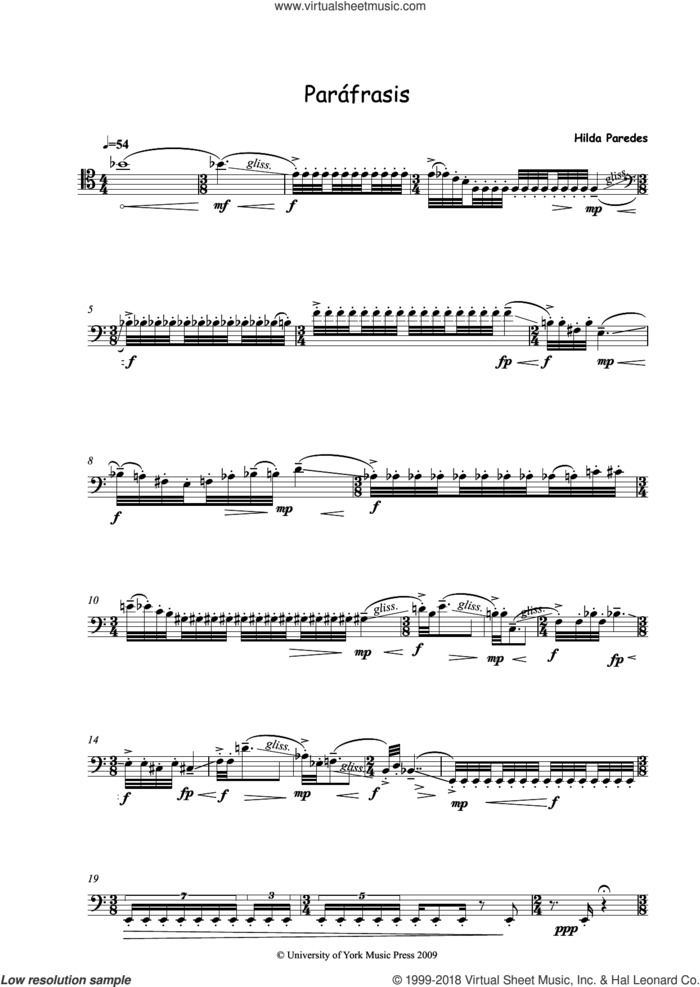 Parafrasis sheet music for trombone solo by Hilda Paredes, classical score, intermediate skill level