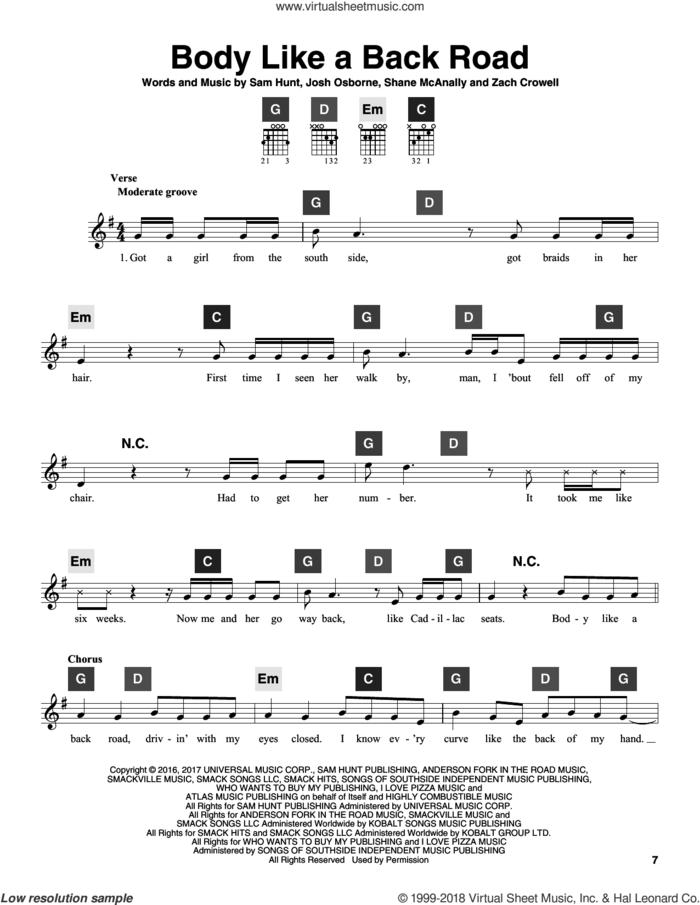 Body Like A Back Road sheet music for guitar solo (ChordBuddy system) by Sam Hunt, Josh Osborne, Shane McAnally and Zach Crowell, intermediate guitar (ChordBuddy system)