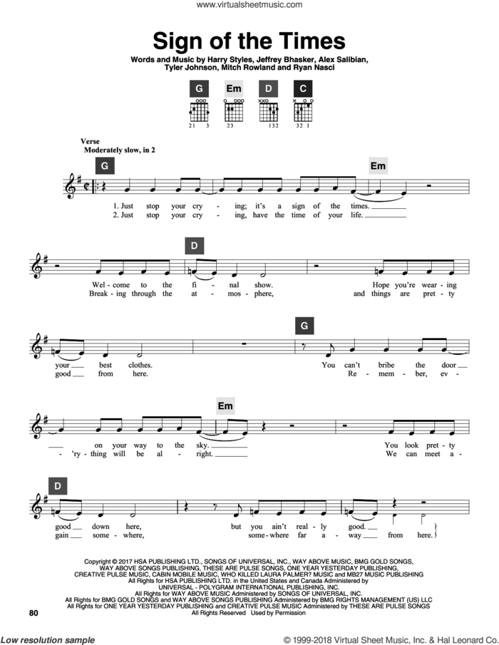 Sign Of The Times sheet music for guitar solo (ChordBuddy system) by Harry Styles, Alex Salibian, Jeff Bhasker, Mitch Rowland, Ryan Nasci and Tyler Johnson, intermediate guitar (ChordBuddy system)