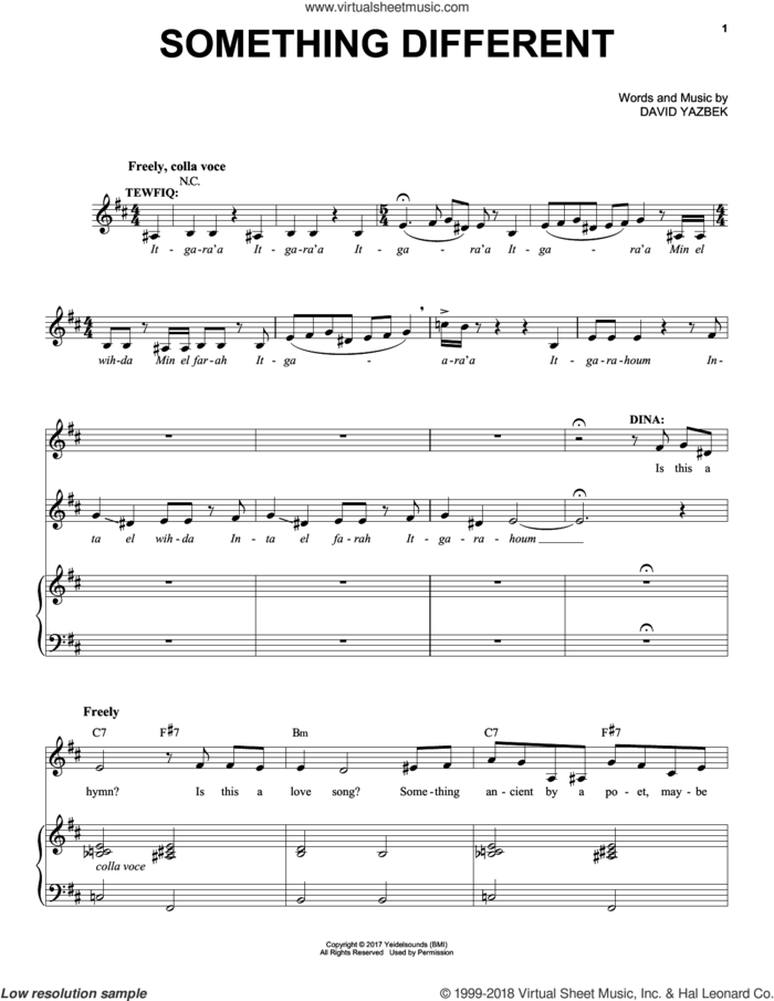Something Different sheet music for voice and piano by David Yazbek, intermediate skill level