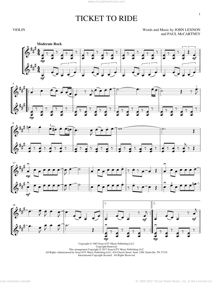 Ticket To Ride sheet music for two violins (duets, violin duets) by The Beatles, John Lennon and Paul McCartney, intermediate skill level