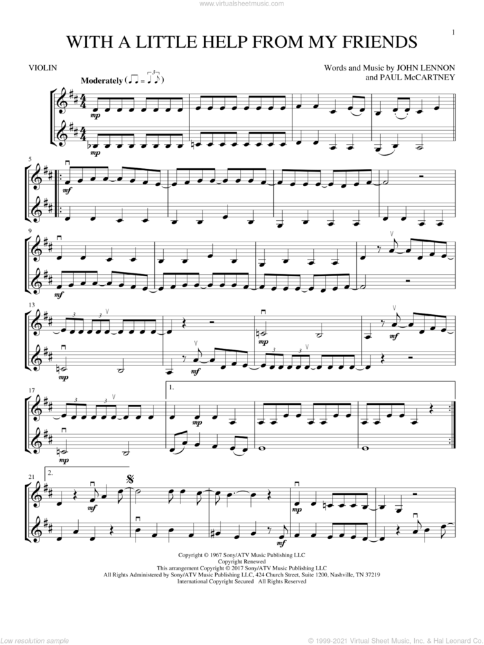 With A Little Help From My Friends sheet music for two violins (duets, violin duets) by Joe Cocker, Sam And Mark, The Beatles, John Lennon and Paul McCartney, intermediate skill level