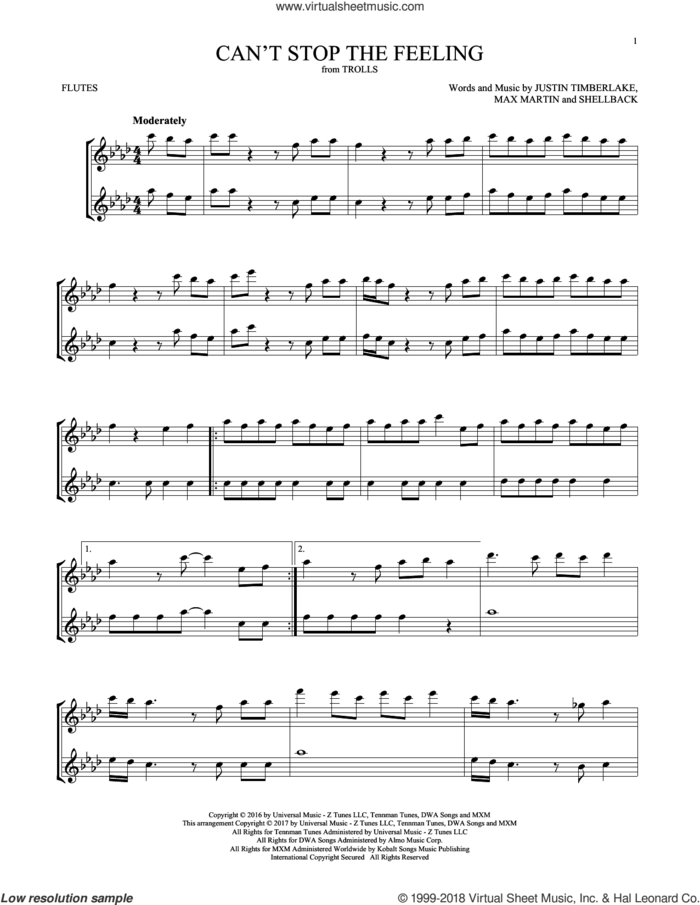 Can't Stop The Feeling sheet music for two flutes (duets) by Justin Timberlake, Johan Schuster, Max Martin and Shellback, intermediate skill level