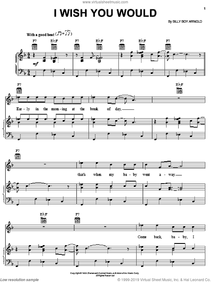I Wish You Would sheet music for voice, piano or guitar by Eric Clapton and Billy Boy Arnold, intermediate skill level