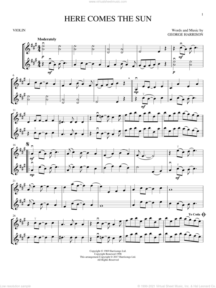 Here Comes The Sun sheet music for two violins (duets, violin duets) by The Beatles and George Harrison, intermediate skill level