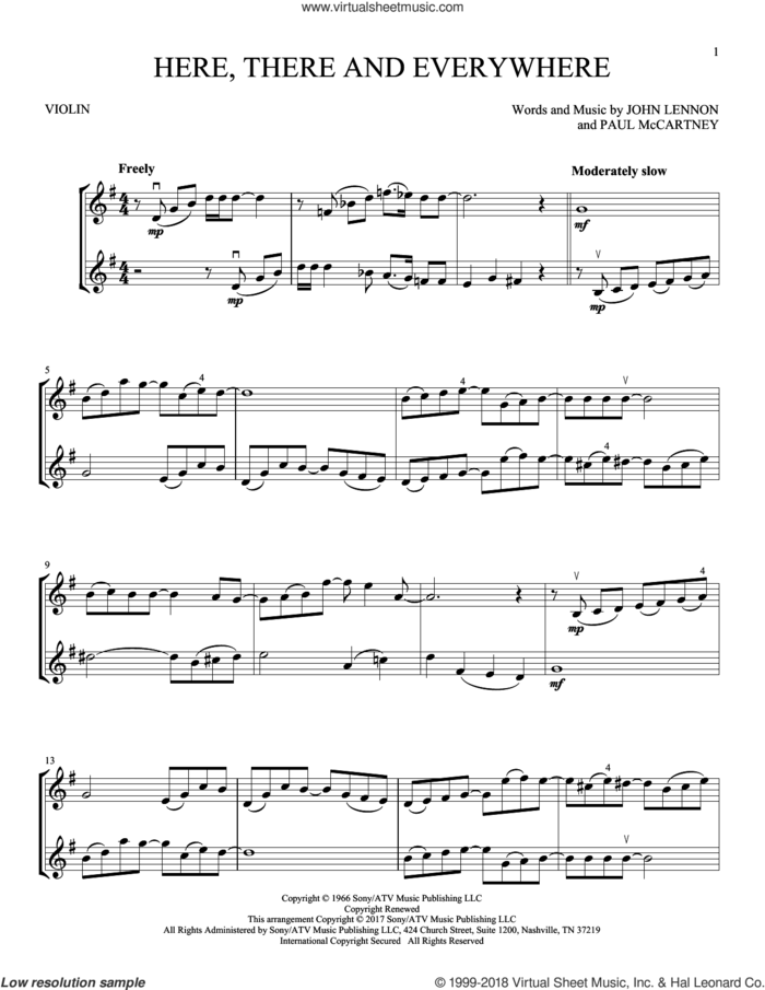Here, There And Everywhere sheet music for two violins (duets, violin duets) by The Beatles, John Lennon and Paul McCartney, intermediate skill level
