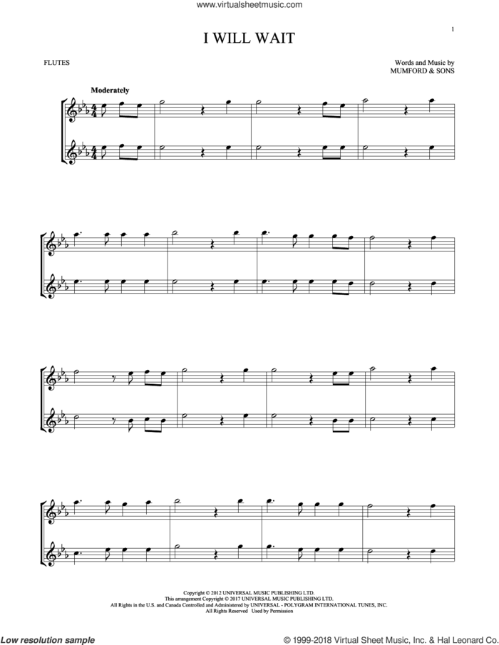 I Will Wait sheet music for two flutes (duets) by Mumford & Sons, intermediate skill level
