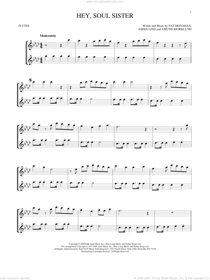 Hey, Soul Sister sheet music for two flutes (duets) by Train, Amund Bjorklund, Espen Lind and Pat Monahan, intermediate skill level