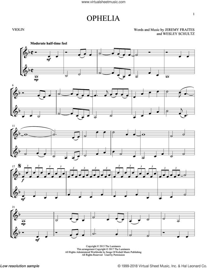 Ophelia sheet music for two violins (duets, violin duets) by The Lumineers, Jeremy Fraites and Wesley Schultz, intermediate skill level