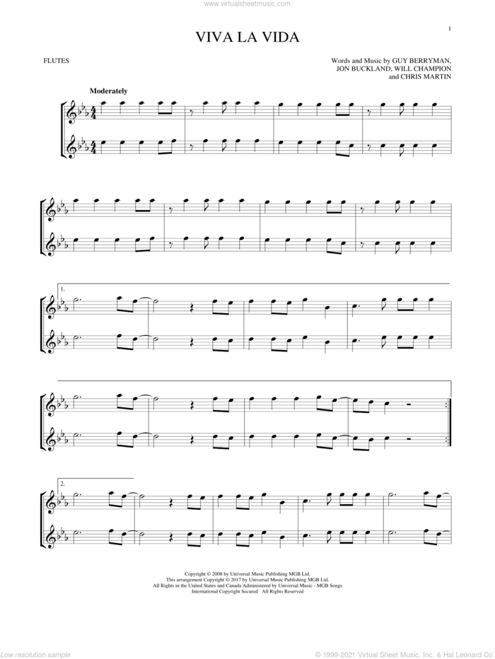 Viva La Vida sheet music for two flutes (duets) by Guy Berryman, Coldplay, Chris Martin, Jon Buckland and Will Champion, intermediate skill level