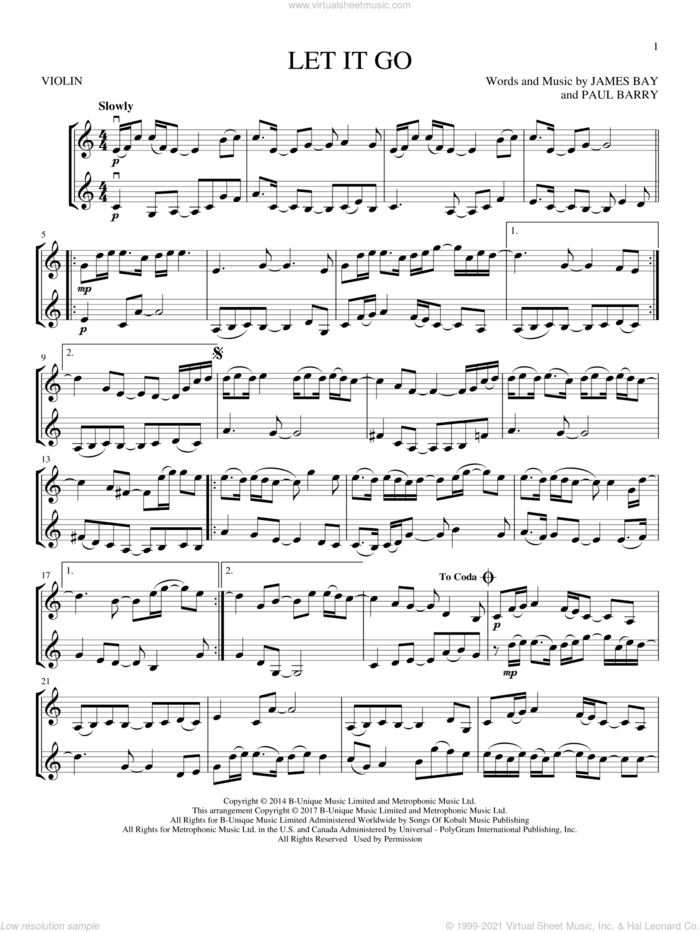 Let It Go sheet music for two violins (duets, violin duets) by James Bay and Paul Barry, intermediate skill level