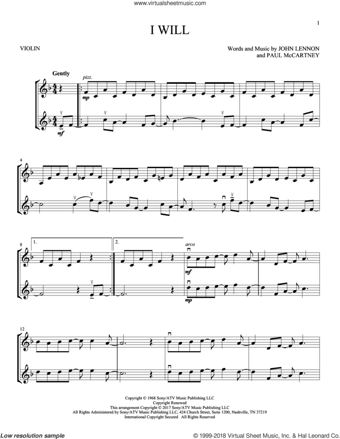 I Will sheet music for two violins (duets, violin duets) by The Beatles, John Lennon and Paul McCartney, intermediate skill level
