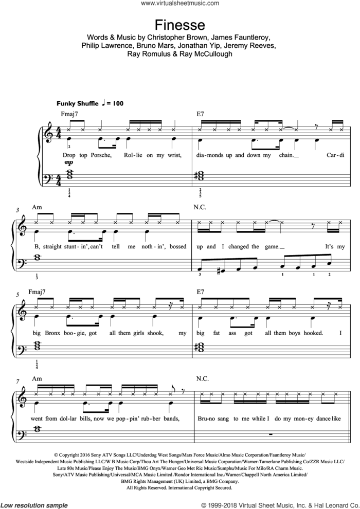 Finesse (featuring Cardi B) sheet music for piano solo (beginners) by Bruno Mars, Cardi B, Chris Brown, James Fauntleroy, Jeremy Reeves, Jonathan Yip, Philip Lawrence, Ray McCullough and Ray Romulus, beginner piano (beginners)