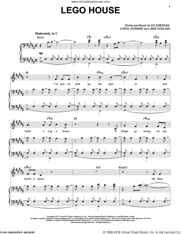 Lego House sheet music for voice and piano by Ed Sheeran, Taylor Swift, Chris Leonard and Jake Gosling, intermediate skill level