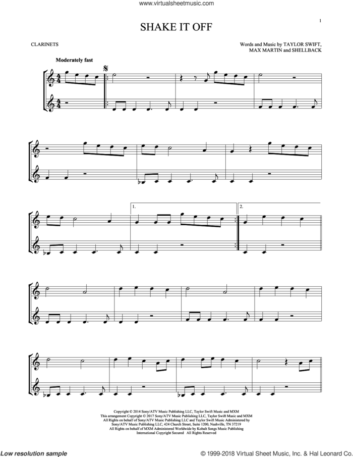 Shake It Off sheet music for two clarinets (duets) by Taylor Swift, Johan Schuster, Max Martin and Shellback, intermediate skill level