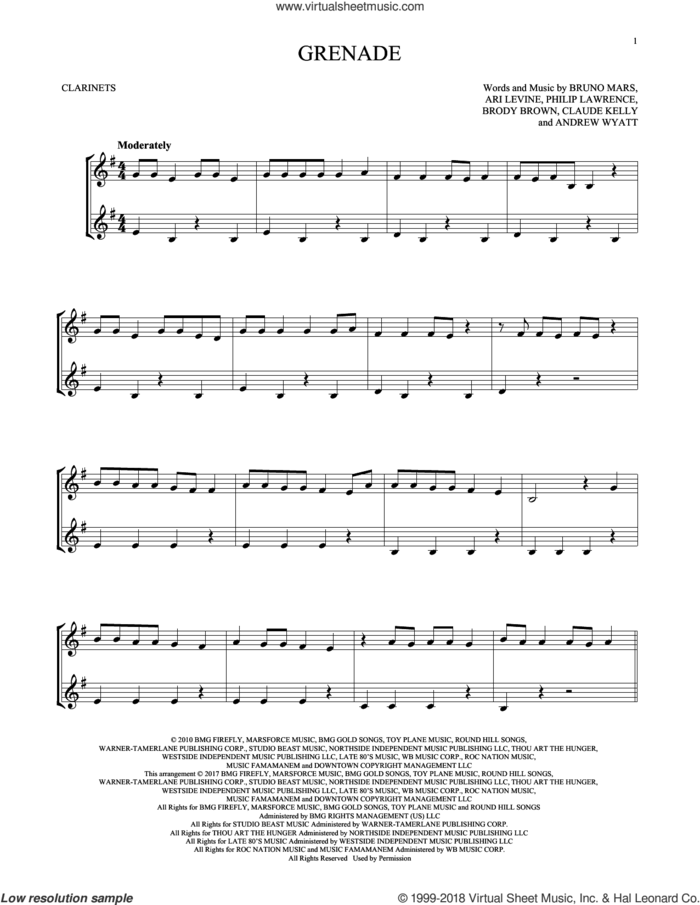Grenade sheet music for two clarinets (duets) by Bruno Mars, Andrew Wyatt, Ari Levine, Brody Brown, Claude Kelly and Philip Lawrence, intermediate skill level