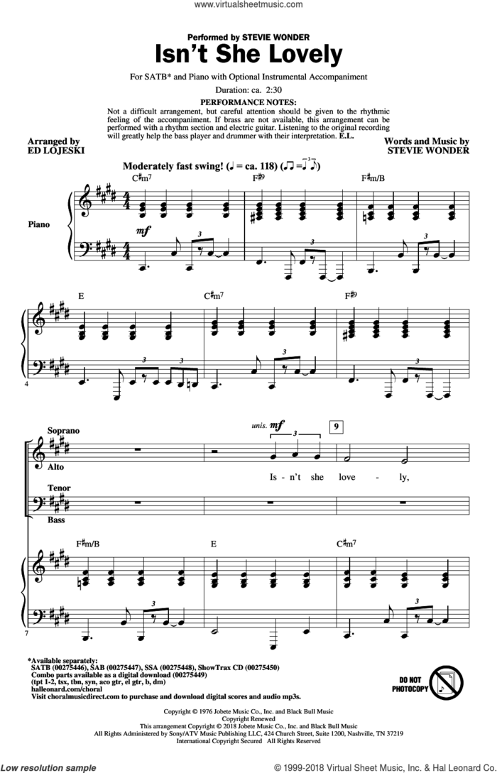 Isn't She Lovely (arr. Ed Lojeski) sheet music for choir (SATB: soprano, alto, tenor, bass) by Stevie Wonder and Ed Lojeski, intermediate skill level