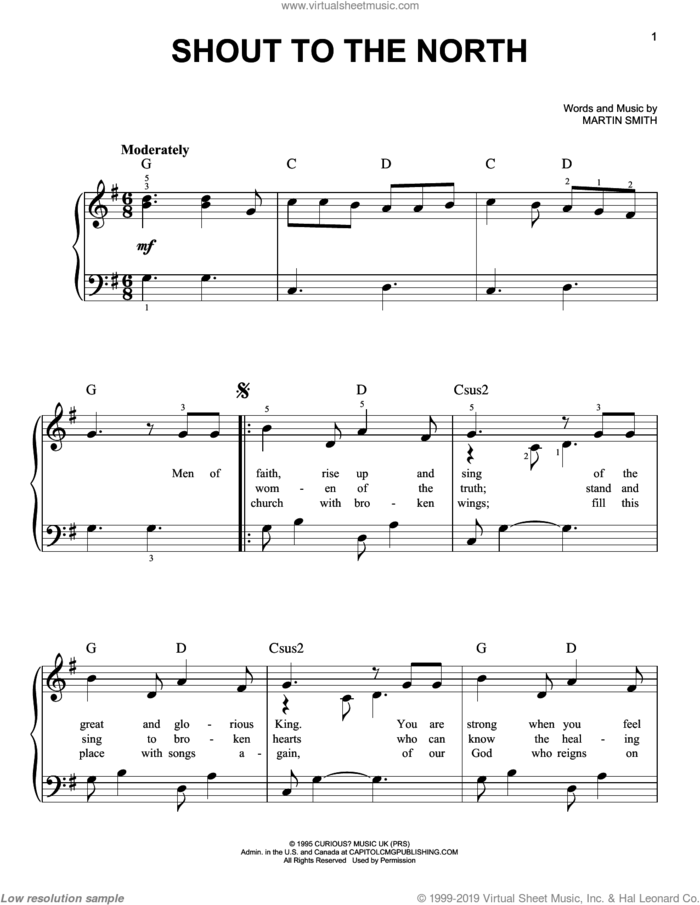 Shout To The North sheet music for piano solo by Delirious? and Martin Smith, easy skill level