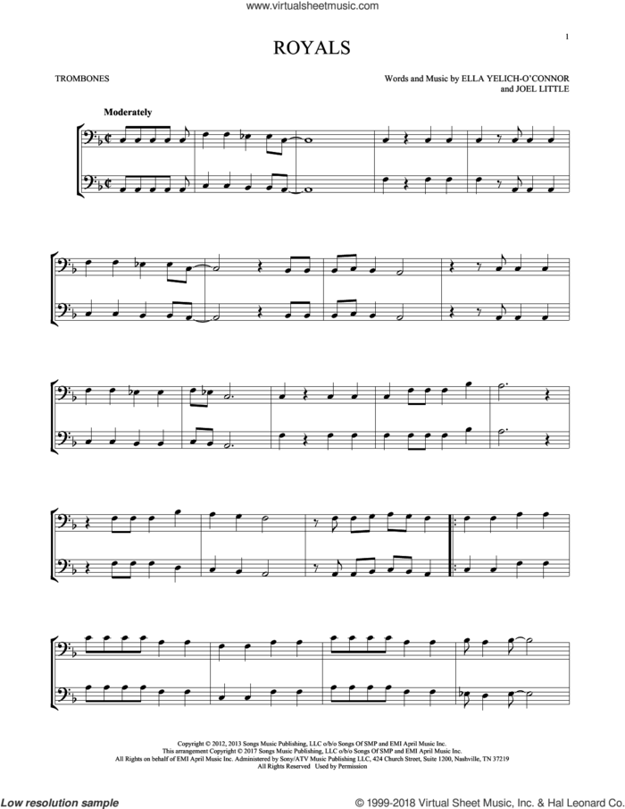 Royals sheet music for two trombones (duet, duets) by Lorde and Joel Little, intermediate skill level
