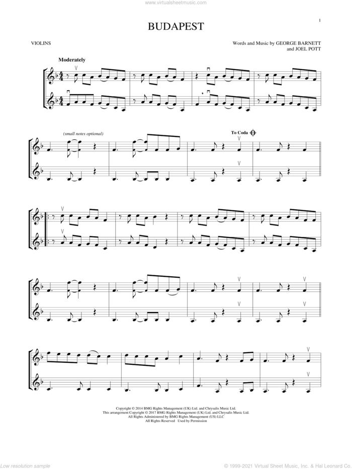 Budapest sheet music for two violins (duets, violin duets) by George Ezra, George Barnett and Joel Pott, intermediate skill level